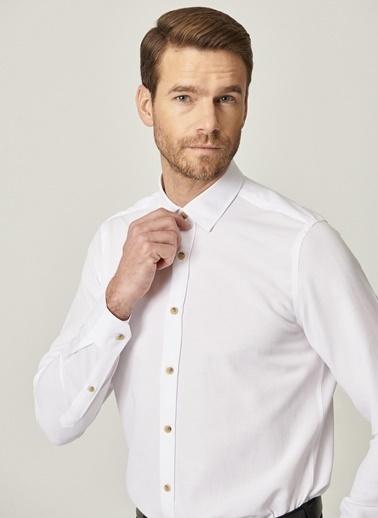 AC&Co / Altınyıldız Classics Tailored Slim Fit Dar Kesim Düğmeli Yaka Oxford Gömlek 4A2021100103 Beyaz